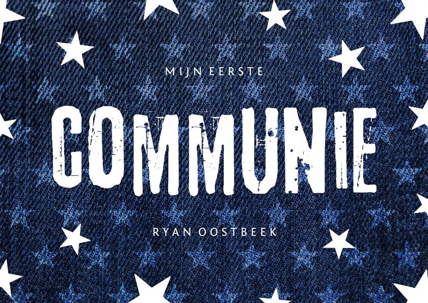Communiekaarten - Uitnodiging communie denim stoer met sterren