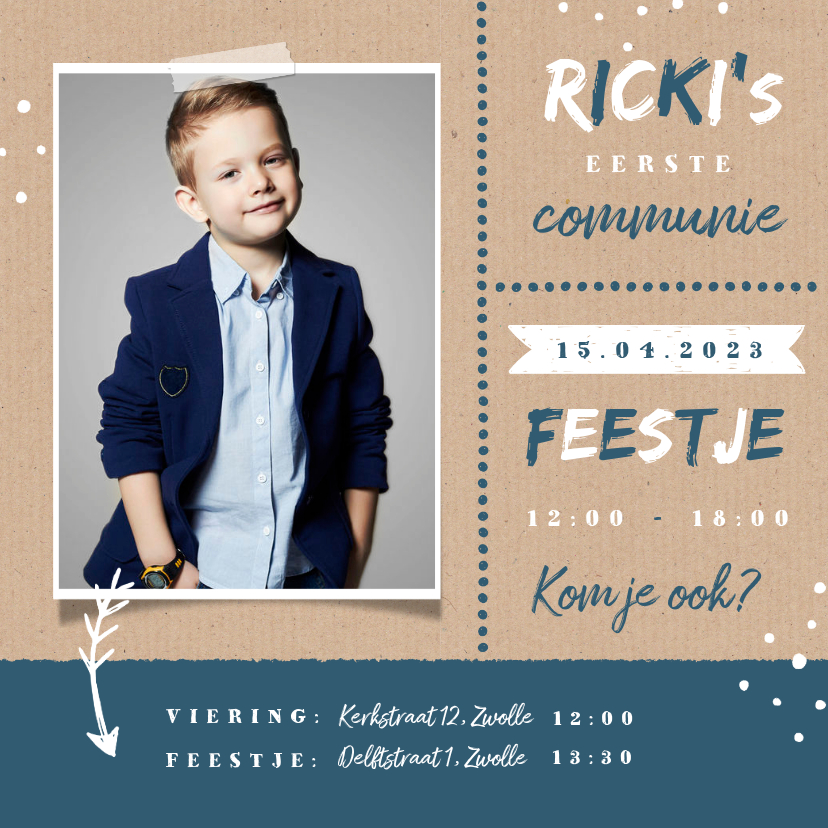Communiekaarten - Uitnodiging communie feest jongen stoer kraft