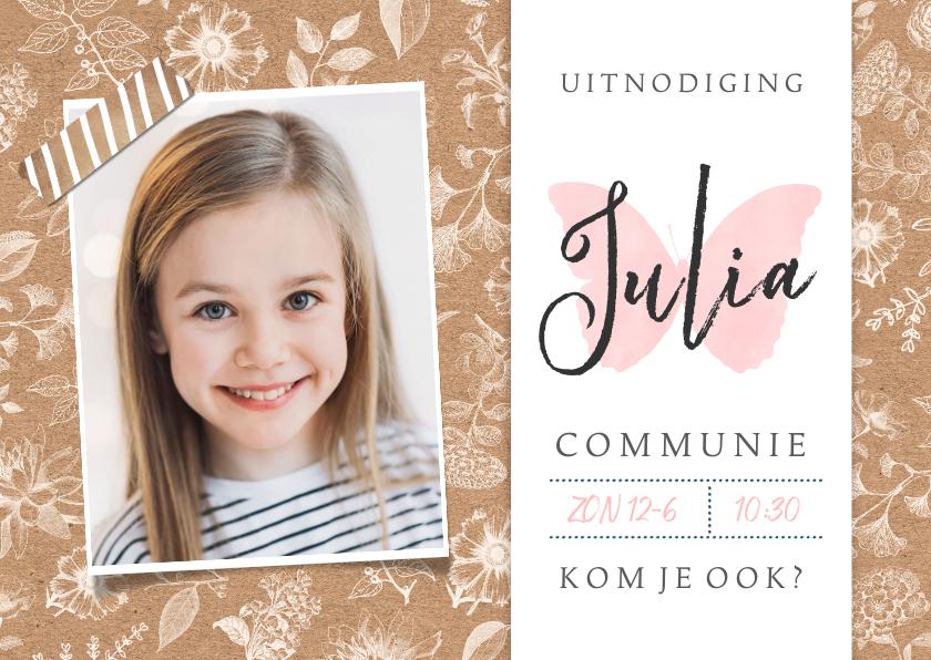 Communiekaarten - Uitnodiging communie feest meisje - kraft met bloemen