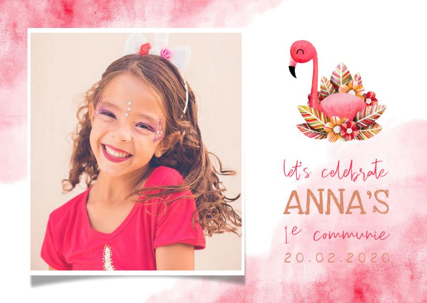 Communiekaarten - Uitnodiging communie flamingo met grote foto en waterverf
