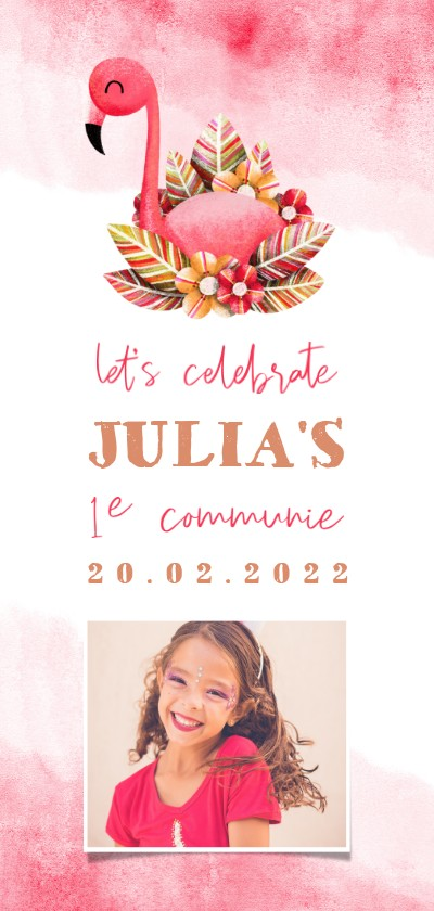 Communiekaarten - Uitnodiging communie flamingo met waterverf en foto