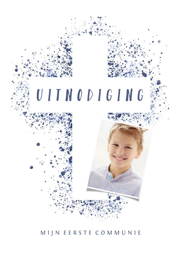 Communiekaarten - Uitnodiging communie foto & kruis verfspetters blauw