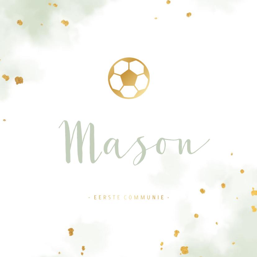 Communiekaarten - Uitnodiging communie gouden voetbal met waterverf