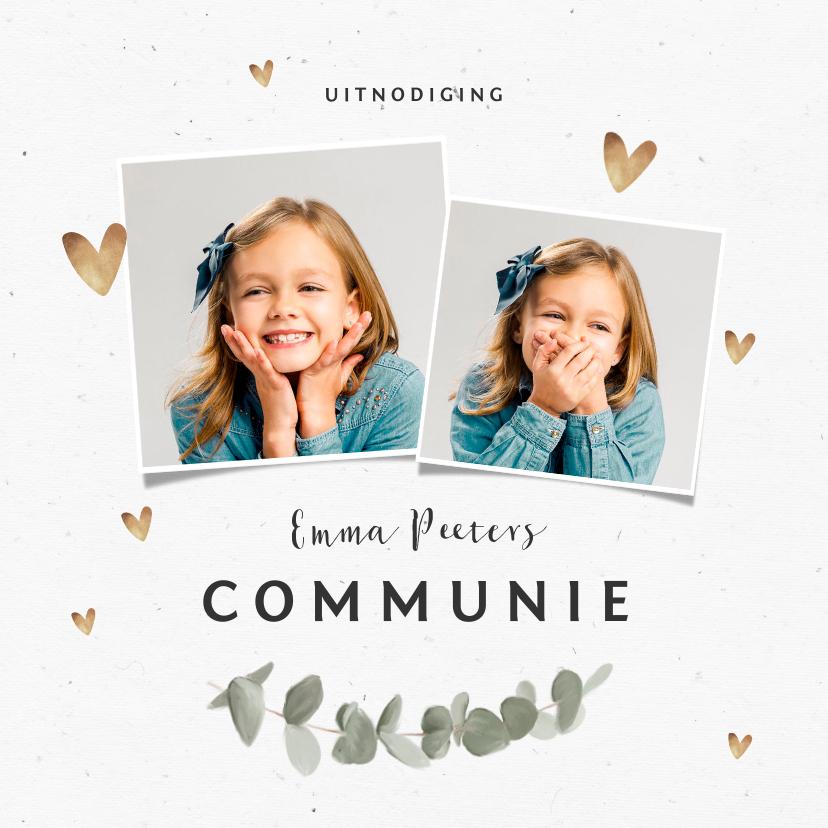 Communiekaarten - Uitnodiging communie hartjes goud eucalyptus foto's