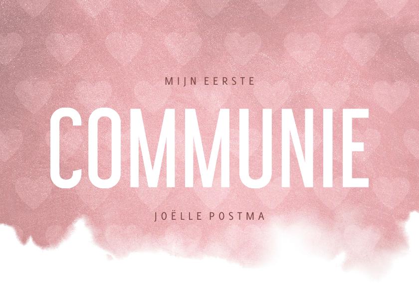Communiekaarten - Uitnodiging communie hip waterverf roze met hartjes