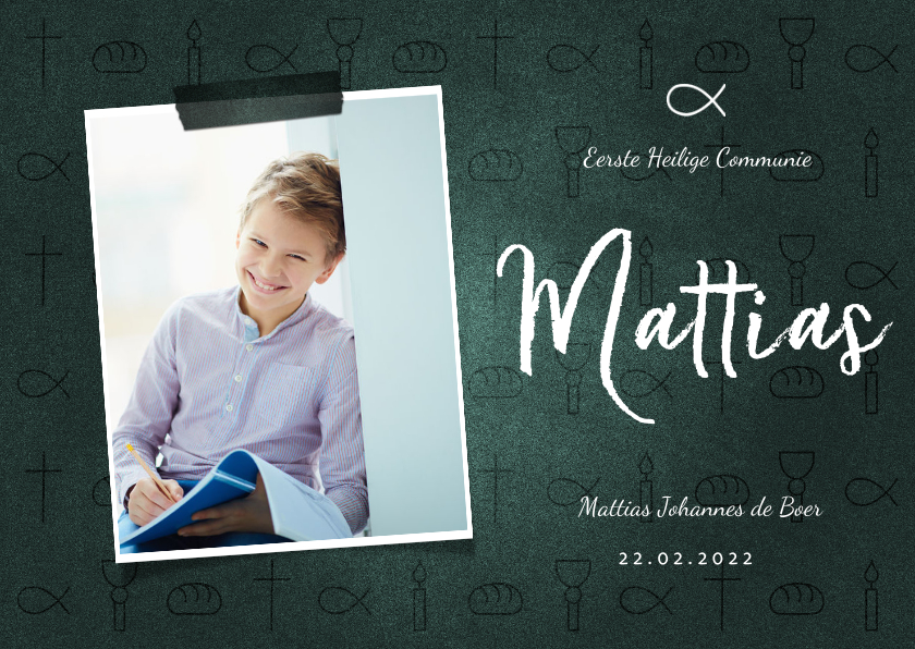 Communiekaarten - Uitnodiging communie jongen christelijke symbolen met foto