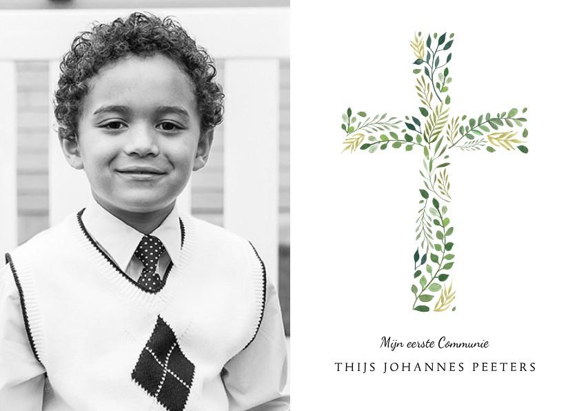 Communiekaarten - Uitnodiging communie klassiek kruis foto