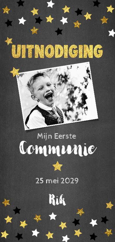 Communiekaarten - Uitnodiging communie krijtbord en sterren confetti