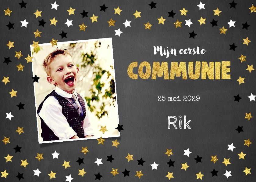 Communiekaarten - Uitnodiging communie krijtbord en sterretjes confetti