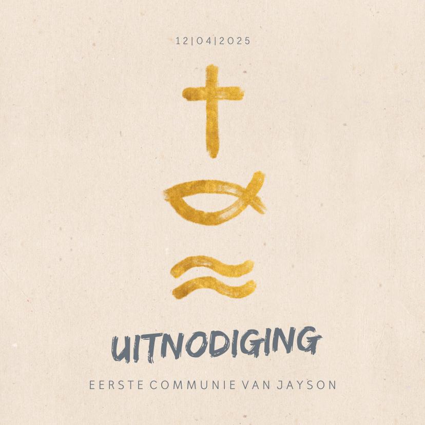 Communiekaarten - Uitnodiging communie met christelijke symbolen