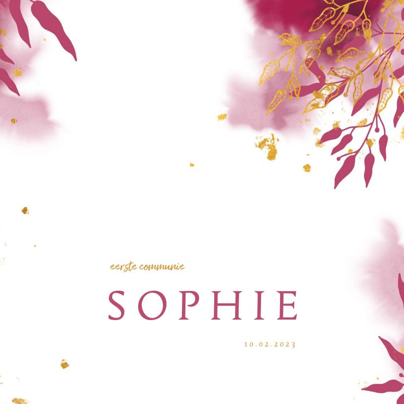 Communiekaarten - Uitnodiging communie met gouden bladeren en roze waterverf