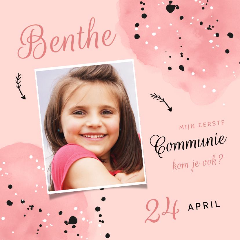 Communiekaarten - Uitnodiging communie roze meisje spetters en foto