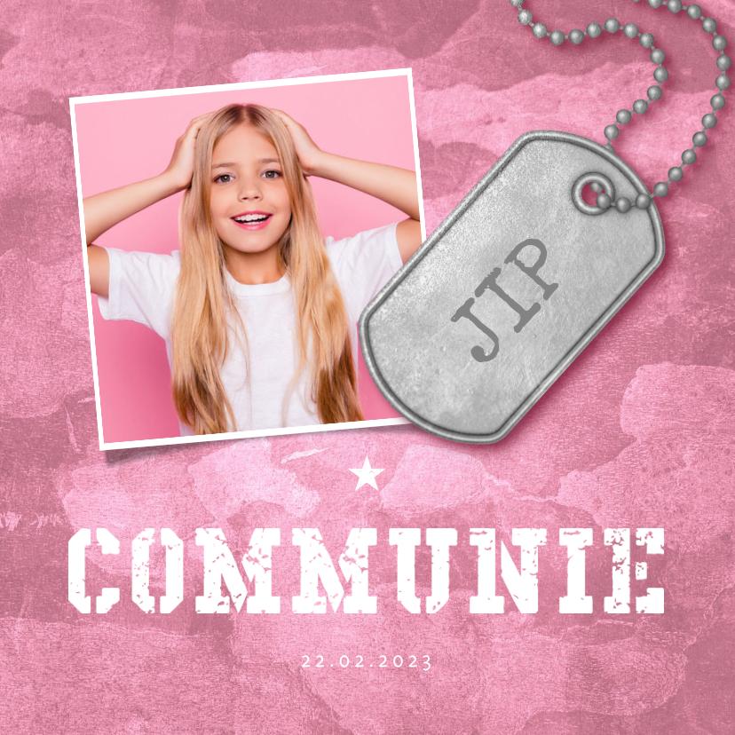 Communiekaarten - Uitnodiging communie roze stoer met foto en legerplaatje