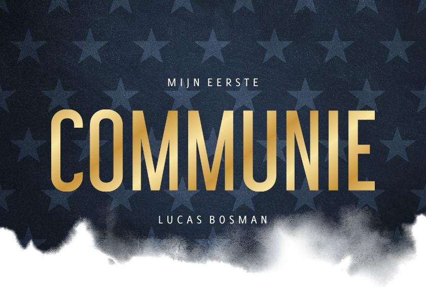 Communiekaarten - Uitnodiging communie stoer waterverf blauw met sterren