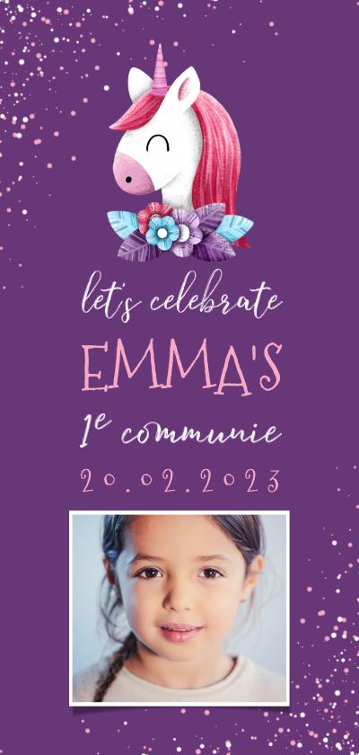 Communiekaarten - Uitnodiging communie unicorn met confetti en foto
