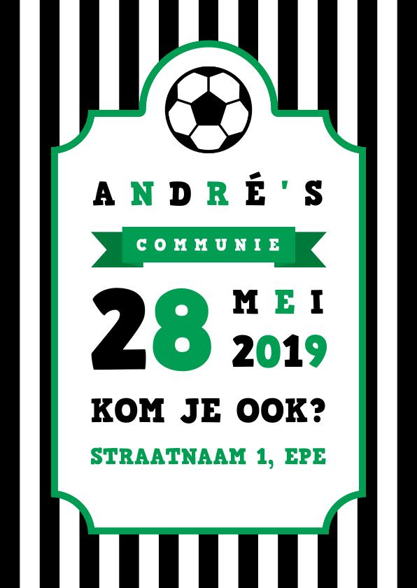 Communiekaarten - Uitnodiging communie voetbal strepen met badge