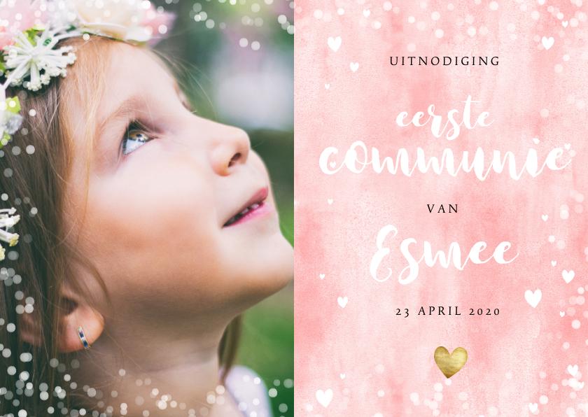 Communiekaarten - Uitnodiging eerste communie met roze waterverf en hartjes