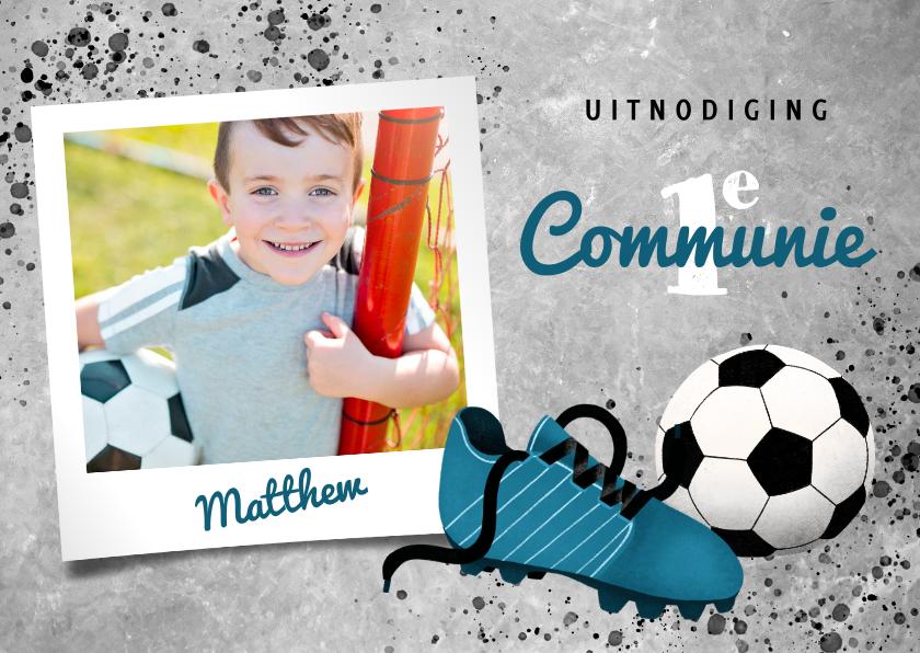 Communiekaarten - Uitnodiging eerste communie met voetbal en voetbalschoen