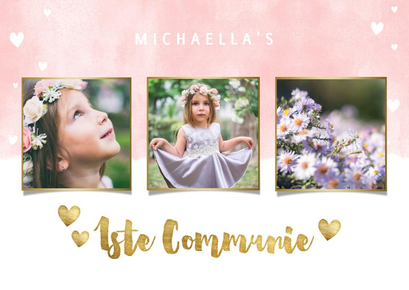 Communiekaarten - Uitnodiging eerste communie met waterverf en gouden hartjes