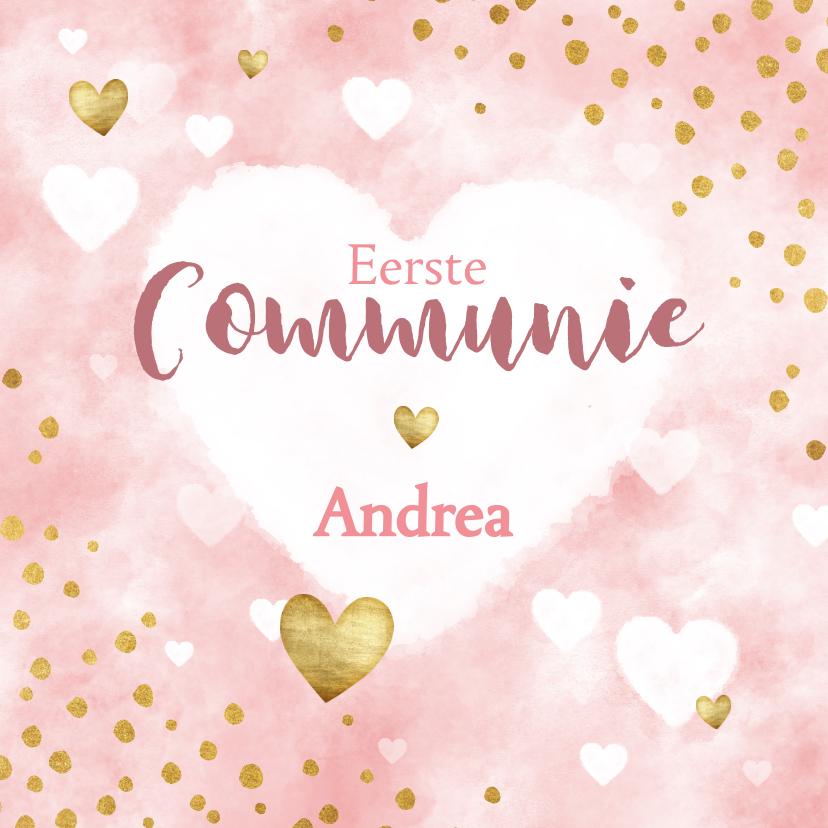 Communiekaarten - Uitnodiging eerste communie waterverf, hartjes en stipjes
