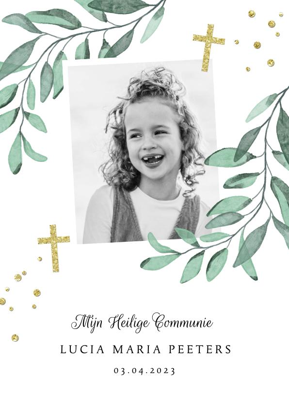 Communiekaarten - Uitnodiging heilige communie bladeren goud kruis foto