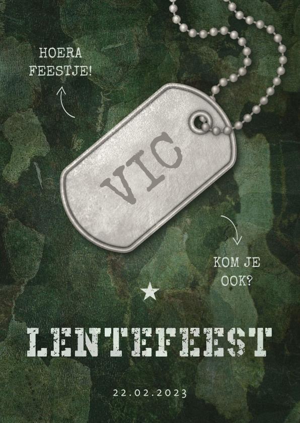 Communiekaarten - Uitnodiging lentefeest army stoer met legerplaatje