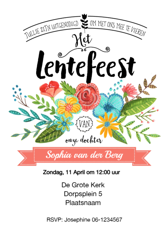 Communiekaarten - Uitnodiging Lentefeest Bloemen