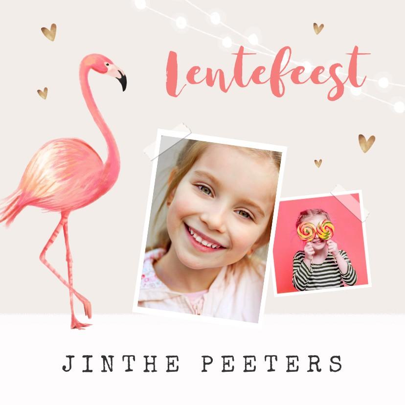 Communiekaarten - Uitnodiging lentefeest meisje flamingo gouden hartjes