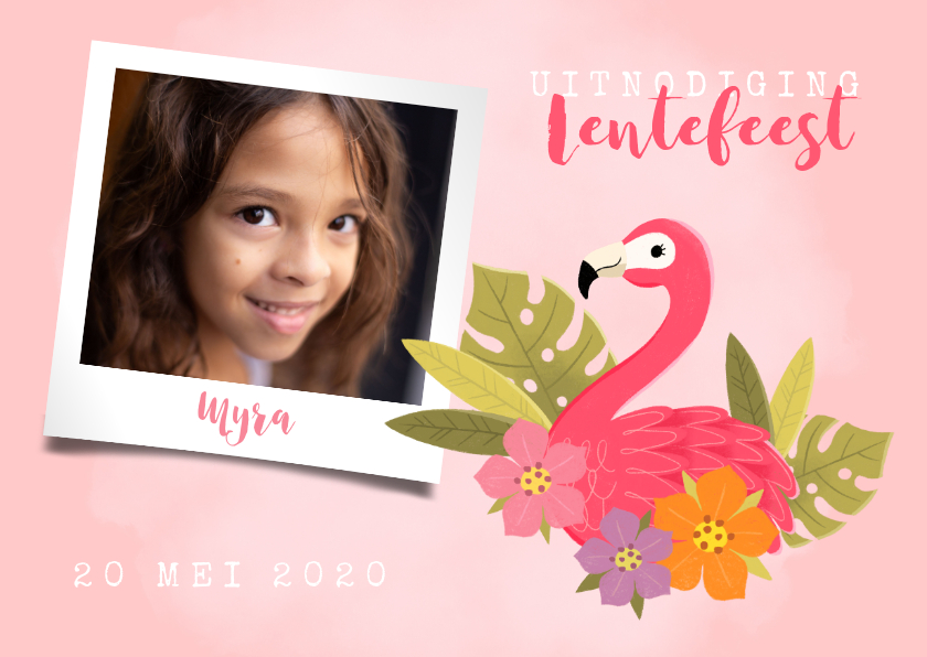 Communiekaarten - Uitnodiging lentefeest met flamingo, bloemen en foto
