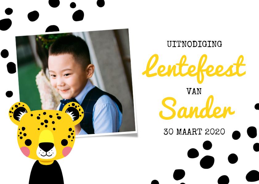 Communiekaarten - Uitnodiging lentefeest met luipaard, stippen en foto