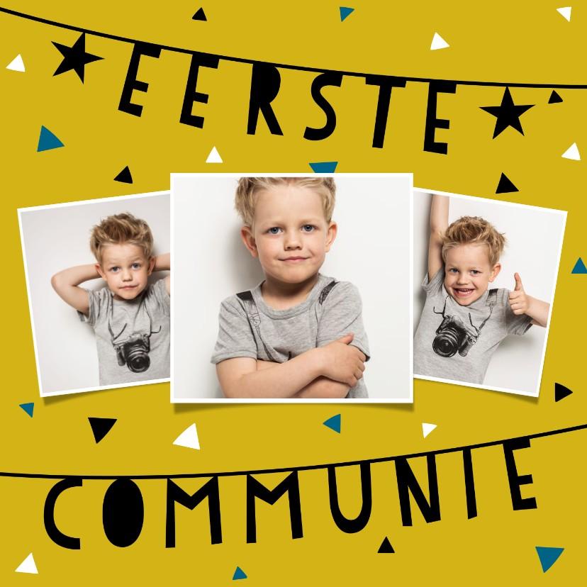 Communiekaarten - Uitnodiging voor eerste communie met slingers en confetti