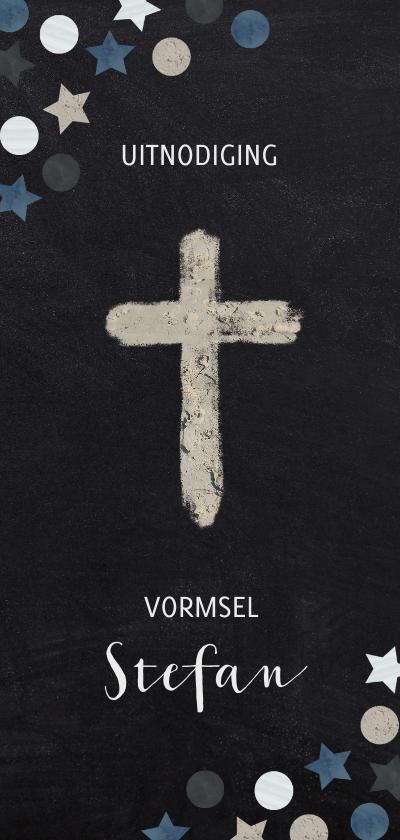 Communiekaarten - Uitnodiging vormsel christelijk symbool confetti krijtbord
