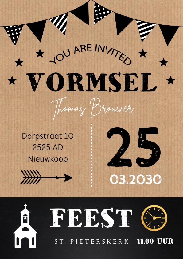 Communiekaarten - Uitnodiging Vormsel kraft slinger typografie