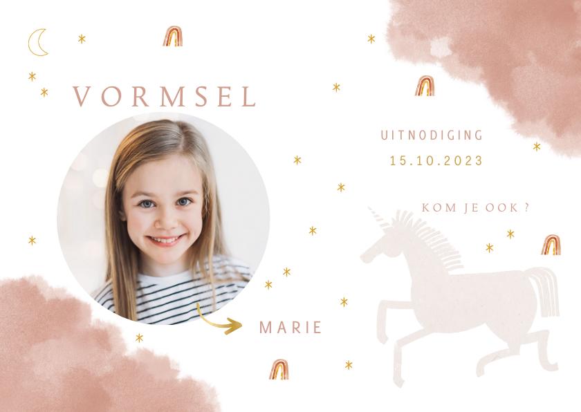 Communiekaarten - Uitnodiging vormsel lief met unicorn en regenbogen