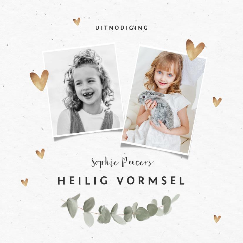 Communiekaarten - Uitnodiging vormsel meisje goud hartjes eucalyptus