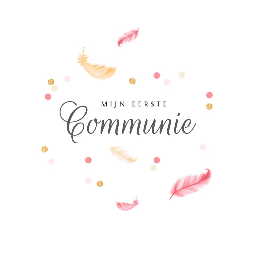 Communiekaarten - Uitnodigingskaart veertjes confetti communie lentefeest