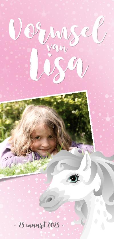 Communiekaarten - Vormsel communie wit schimmelpaard roze