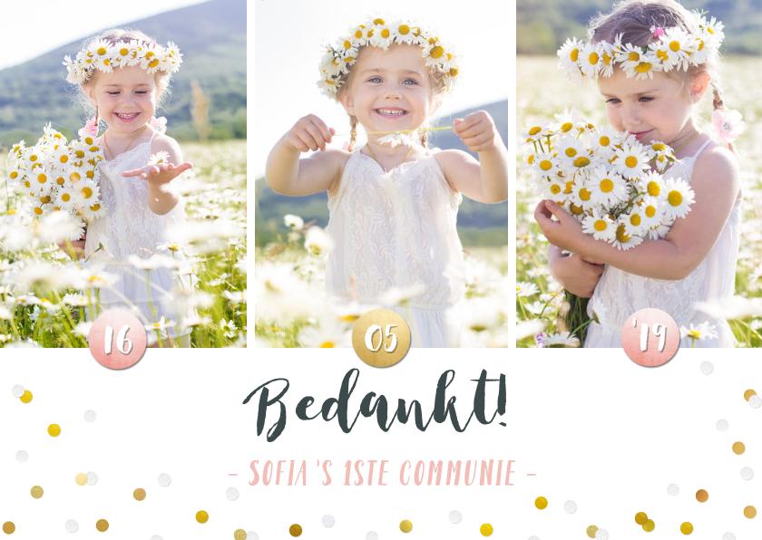 Communiekaarten - Vrolijk bedankkaartje eerste communie meisje met foto's