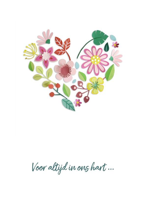 Condoleancekaarten - Bloemenhart - voor altijd in ons hart