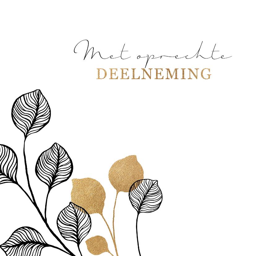 Condoleancekaarten - Botanische condoleancekaart met zwart en goud