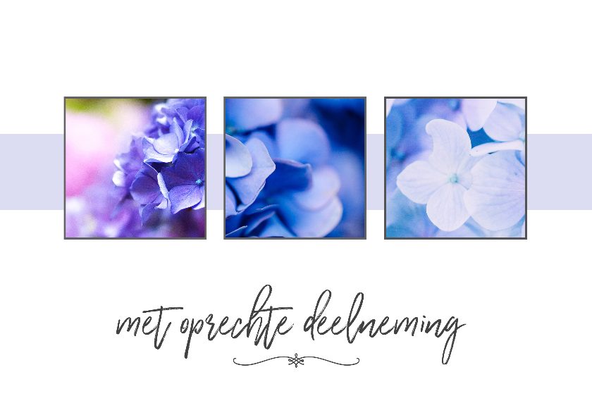 Condoleancekaarten - Condoleance - collage hortensia met oprechte deelneming