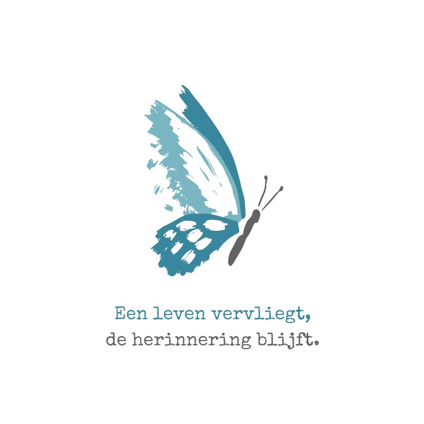 Condoleancekaarten - Condoleance Een leven vervliegt met tekening van vlinder