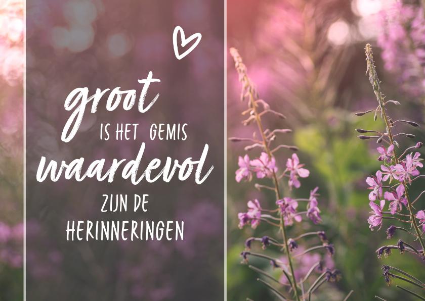 Condoleancekaarten - Condoleance - gedicht hartje roze bloemen