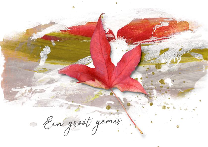 Condoleancekaarten - Condoleance kaart blad op verf