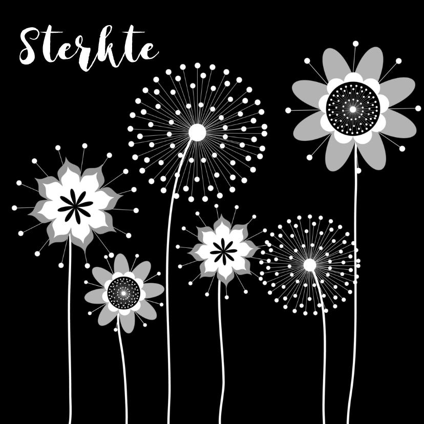 Condoleancekaarten - Condoleance kaart bloemen zwart