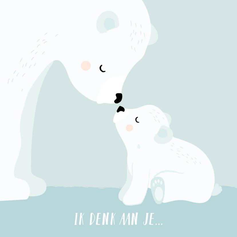 Condoleancekaarten - Condoleance kaart kind met mama en baby ijsbeer