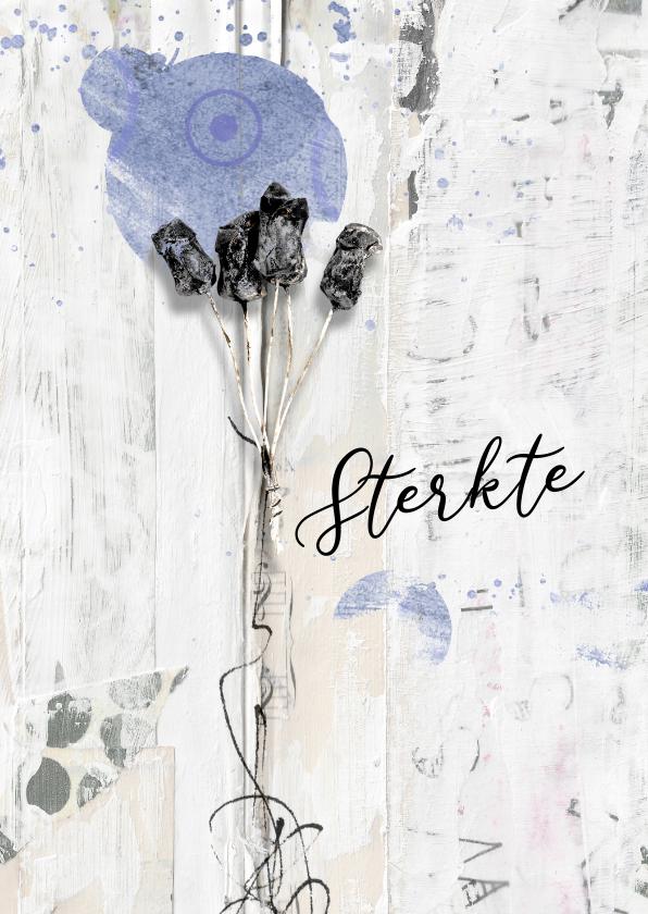 Condoleancekaarten - Condoleance kaart zwarte rozen cirkels