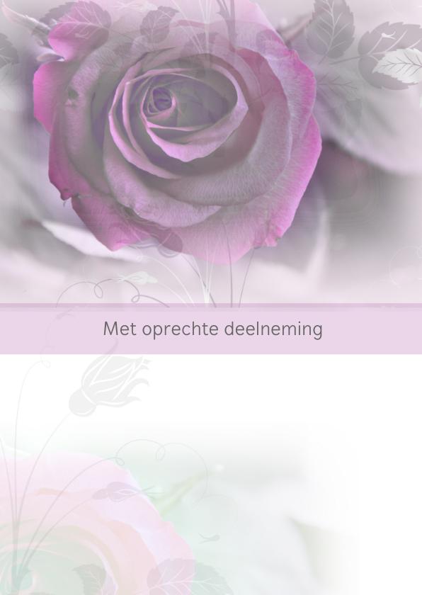 Condoleancekaarten - Condoleance roos paars
