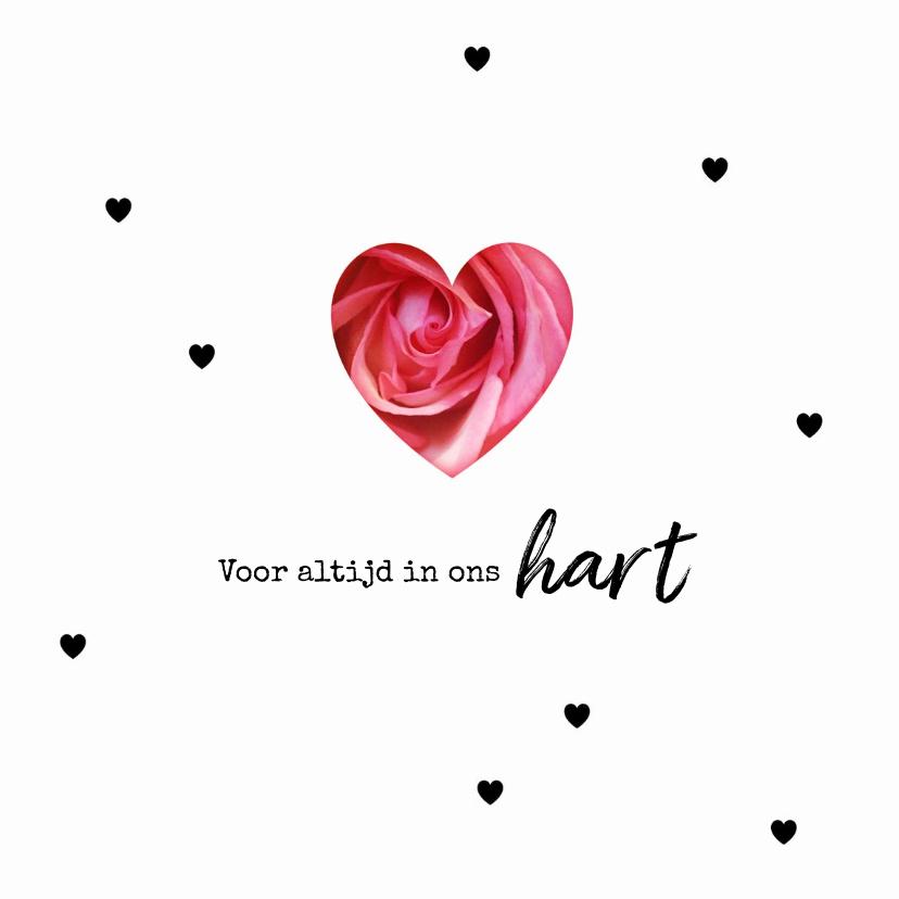 Condoleancekaarten - Condoleance roos voor altijd in ons hart