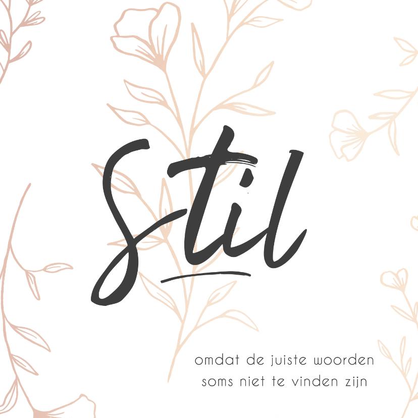 Condoleancekaarten - Condoleance - stil rand bloemen